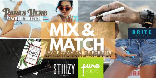 MIX N MATCH - Brite Labs/Papa's Herb/Pure Vape/ Stiiizy Premium .5 - 4 for $115